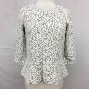 J. Crew White/Grey Lace Peplum Top